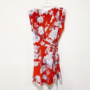Yumi Kim Red Floral Silk Wrap Dress